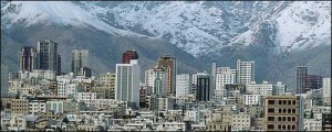 A view of modern Tehran with Alborz mountains on the back